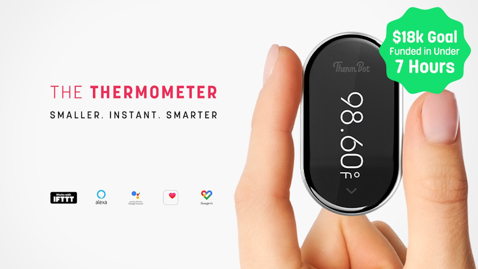 At home or on the go, ThermBot delivers contactless body temperature readings at clinical accuracy, plus smart home assistants & IFTTT integration.
