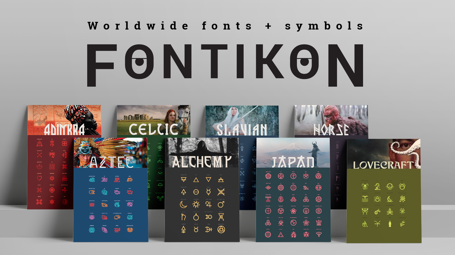 A unique collection of Ethno-Esoteric fonts and symbols inspired by worldwide ancient civilizations