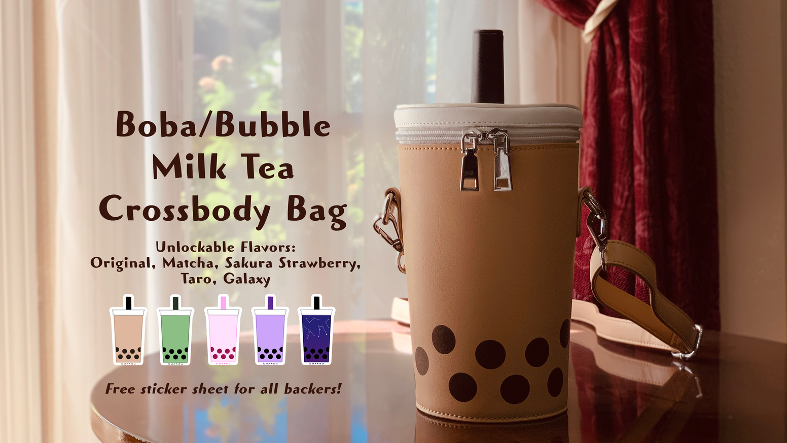 A cute boba/bubble milk tea crossbody/shoulder bag, suitable for carrying your everyday items or your drink!