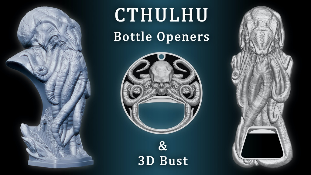 Cthulhu 3D Bust and Bottle Openers project video thumbnail