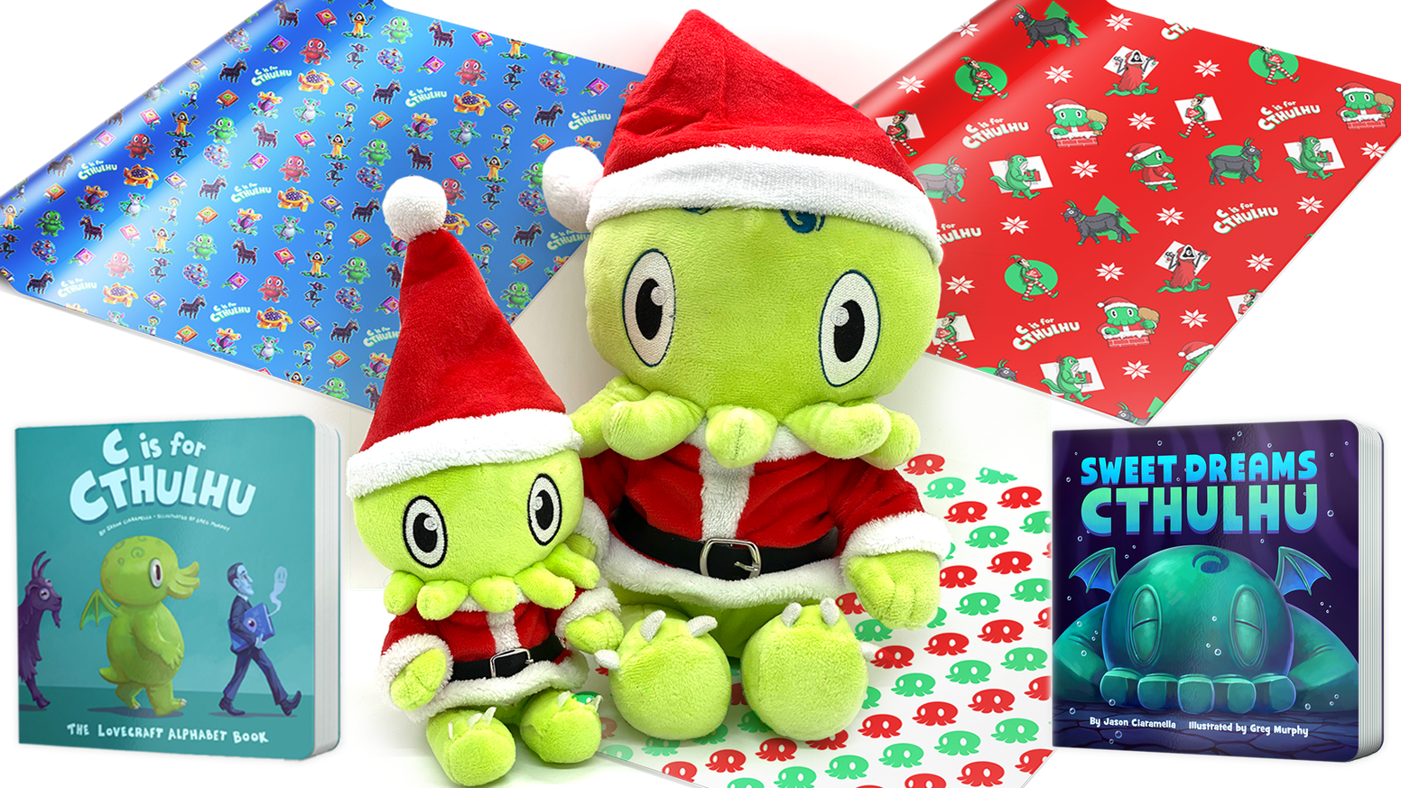 Cuddly new Santa Cthulhu plush toys, festive Lovecraft themed wrapping paper & beloved children's books, in time for the holidays!