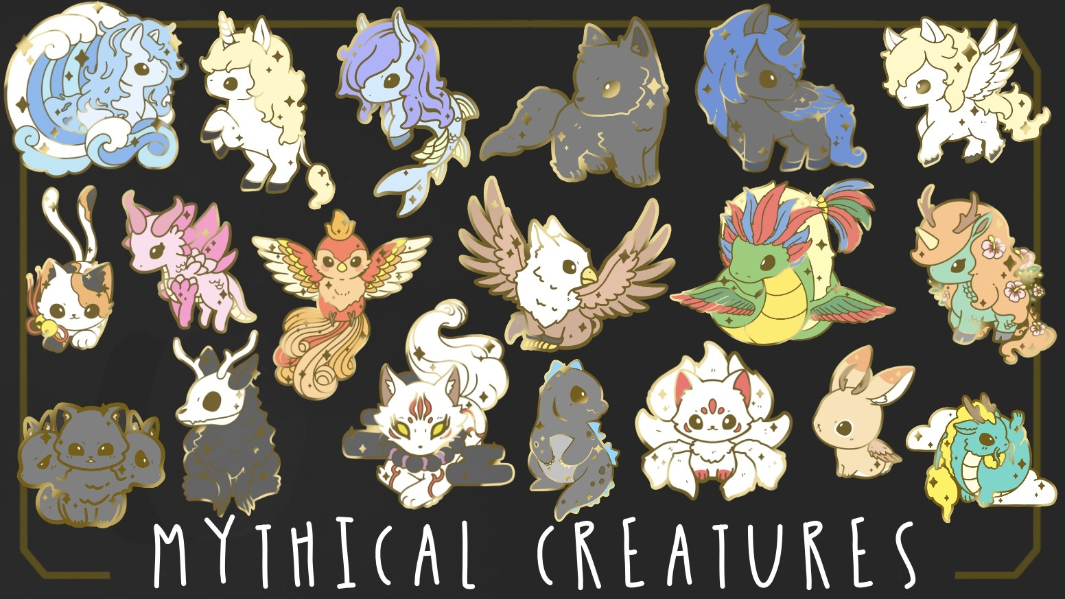 Cute Mythical or Mythology Creatures Hard Enamel Pins