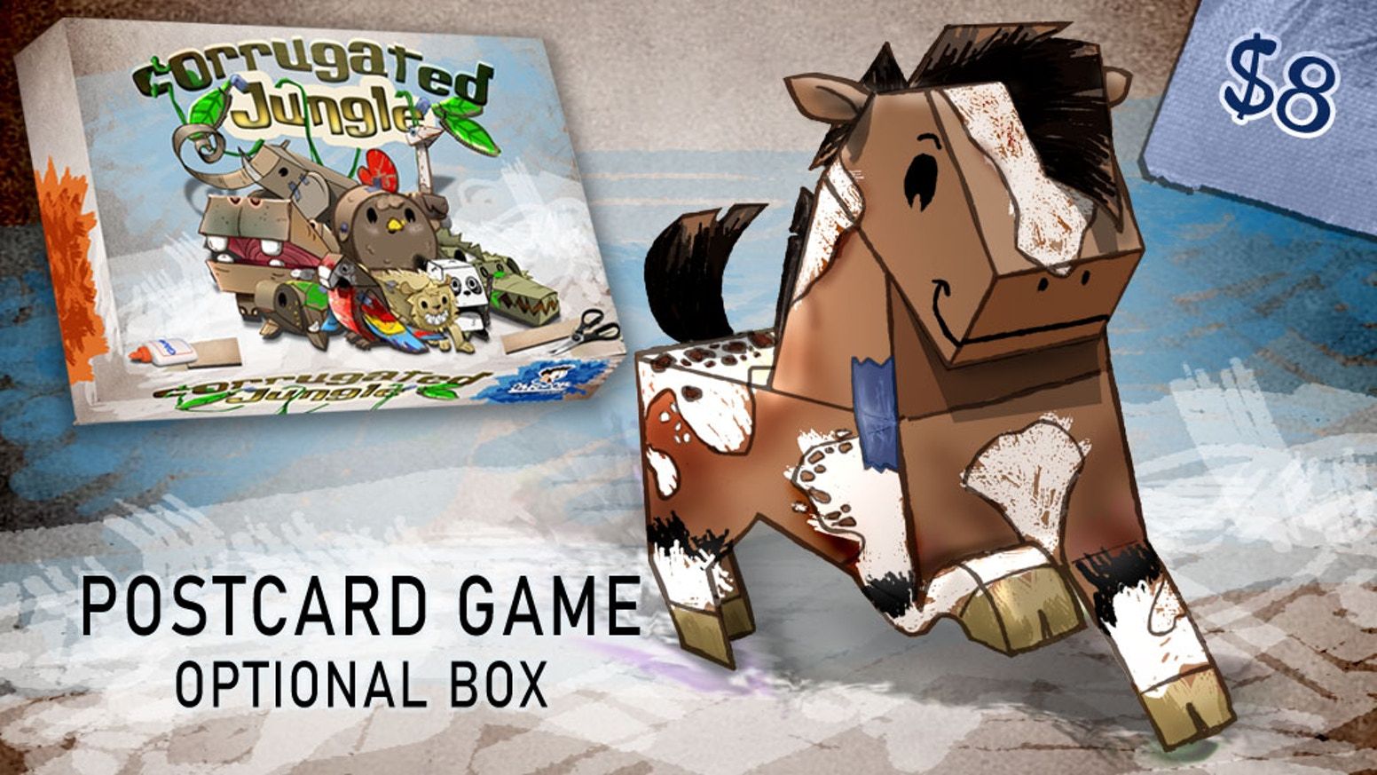 A postcard game with cute cardboard critters. Build your unique animals with cut-n-paste actions to win.