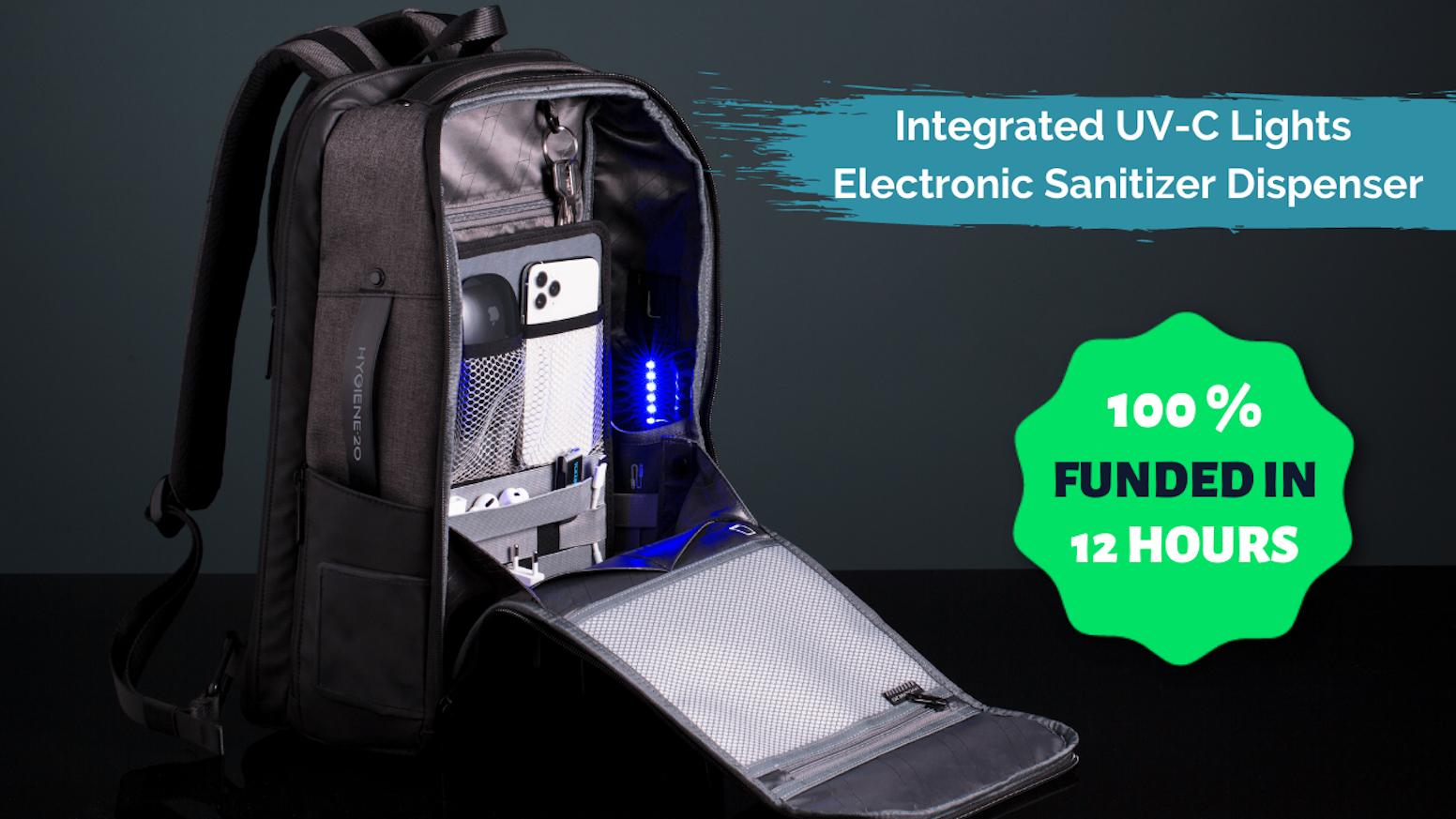 Hand Sanitizer E-Dispenser | UV-C Sanitizing Light | Fast Access Wipe/Gloves Pocket | Hygiene Hand