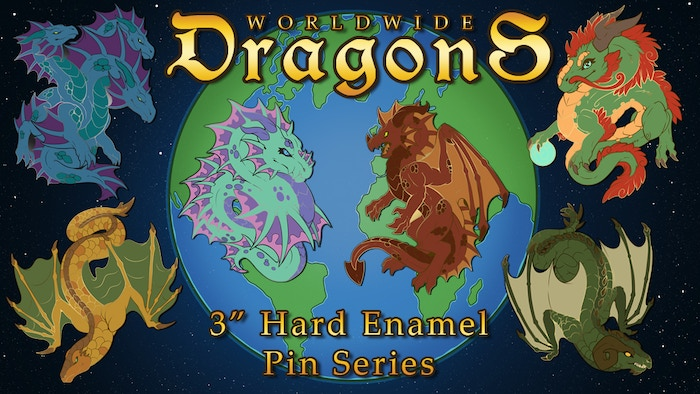 Enamel pins showcasing popular types of dragons from mythology and fantasy around the world!