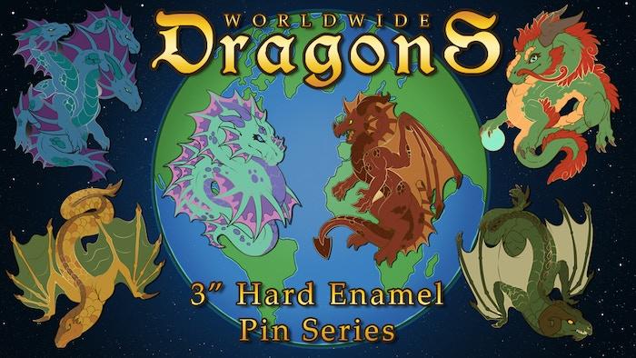 Enamel pins showcasing popular types of dragons from mythology and fantasy around the world!