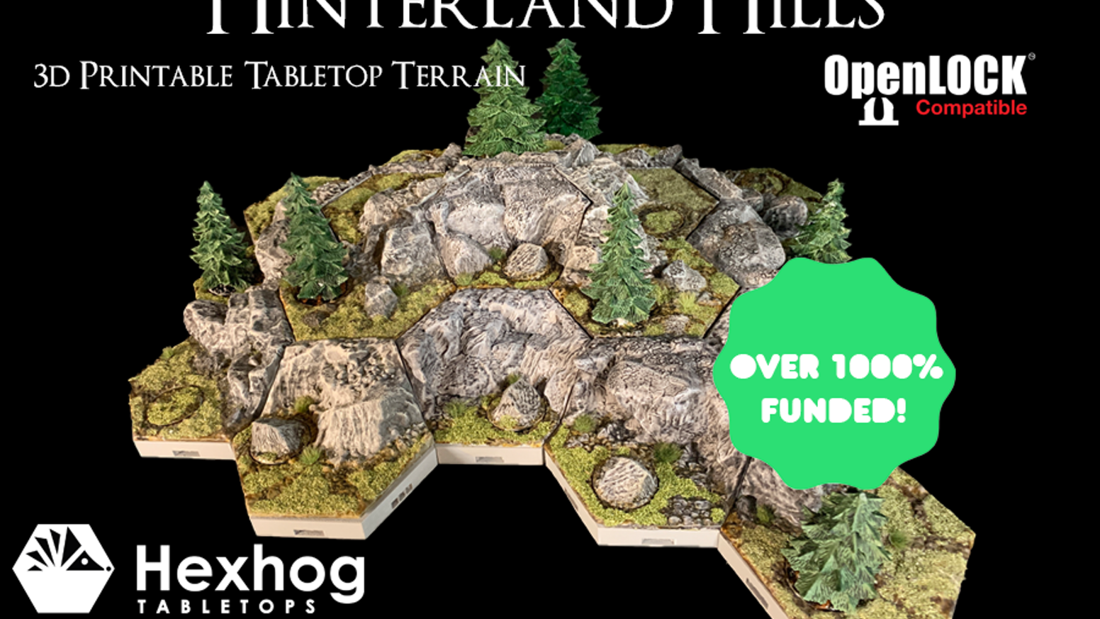 Hexhog Tabletops: Hinterland Hills 3D printable modular terrain for tabletop games, such as Warhammer, D&D, and SW Legion