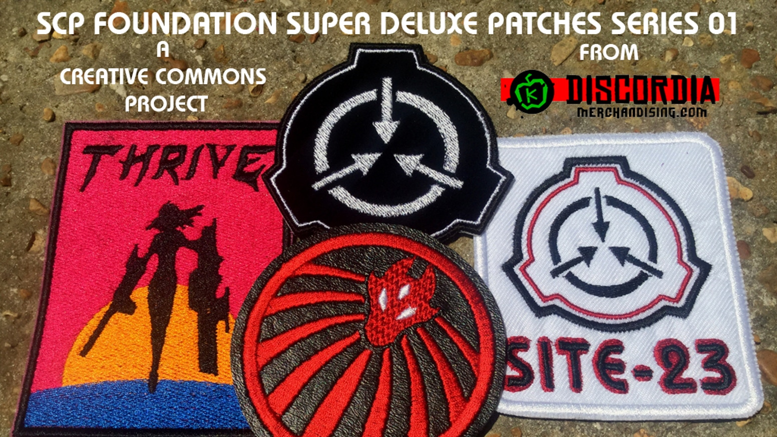 SCP Embroidered Patches on various unique fabrics. A Creative Commons Project - CC 3.0 BY-SA-US. From Discordia Merchandising.