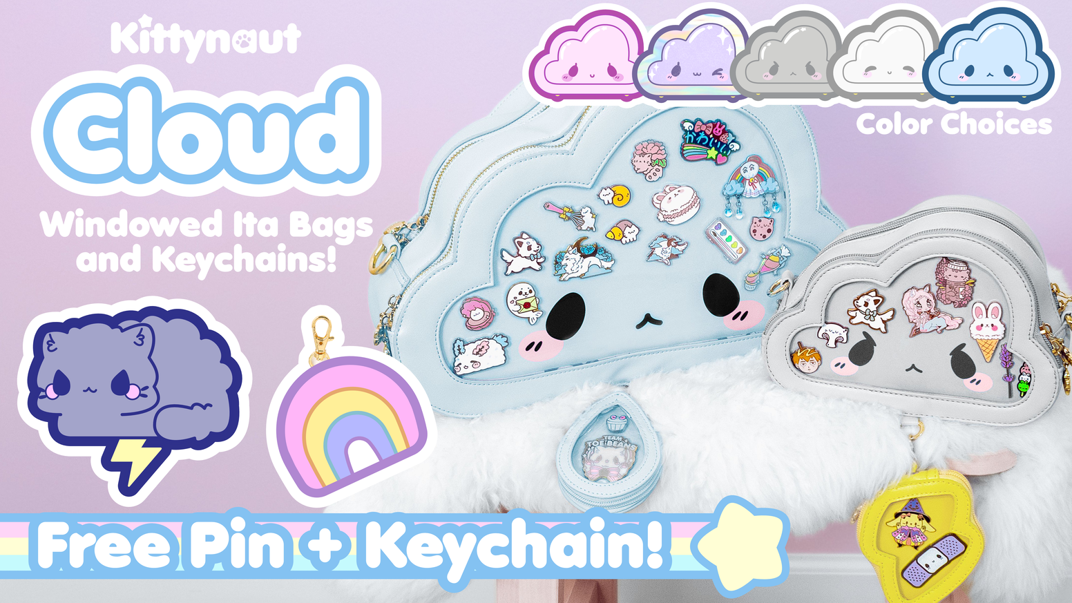 Cloud Ita Bags, Enamel pins, and Ita Keychains -- with clear windows!