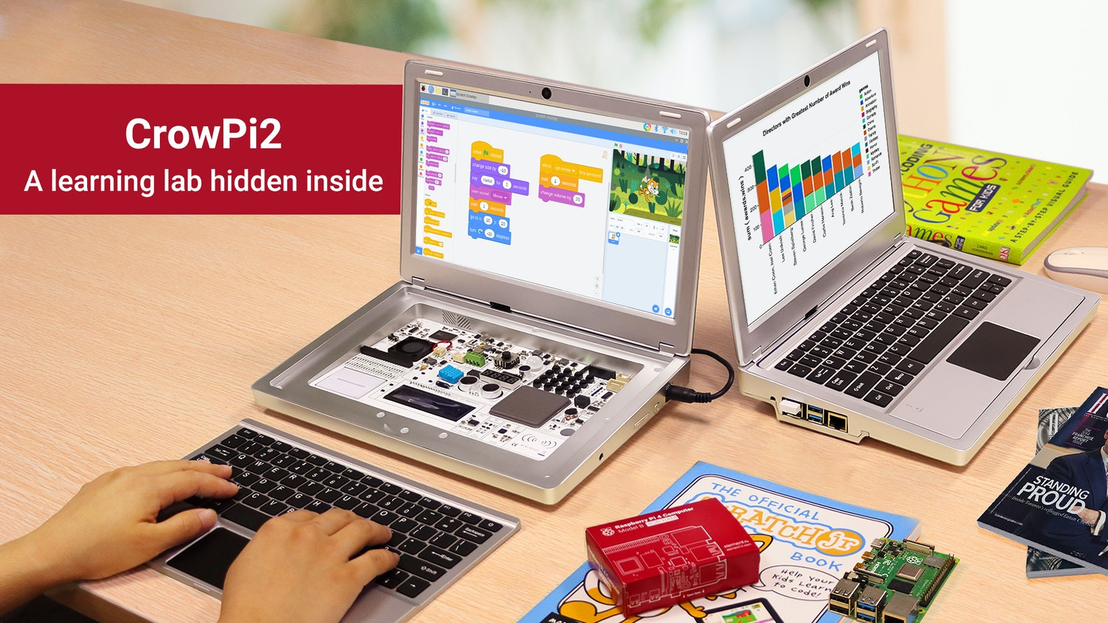 CrowPi2 is an all-in-one device based on Raspberry Pi that is just as suitable for STEM education, portable laptop.