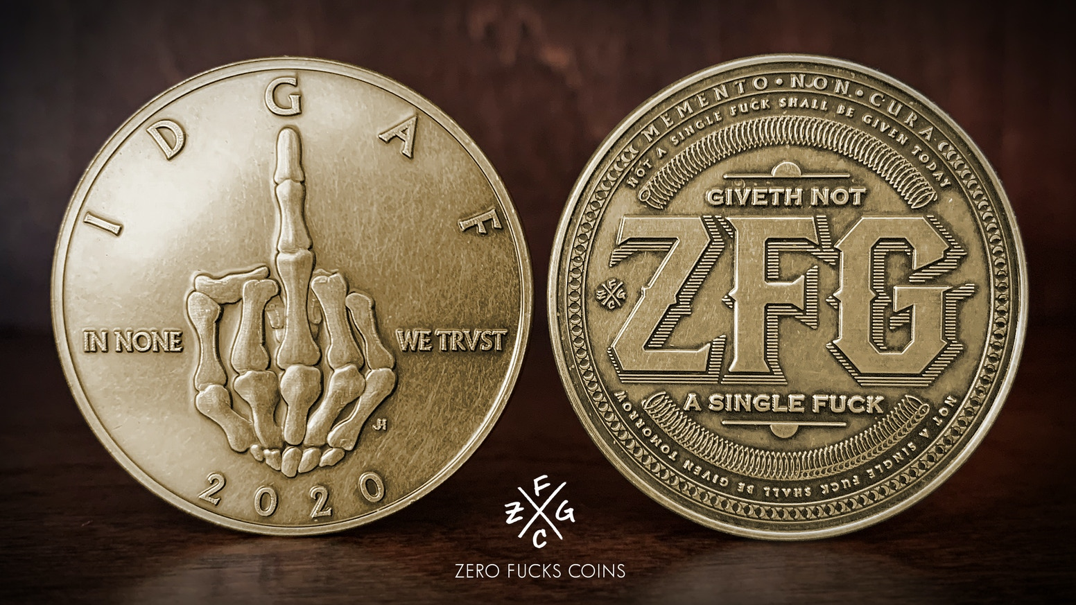 Badass coins to remind yourself to keep calm and not give a fuck.