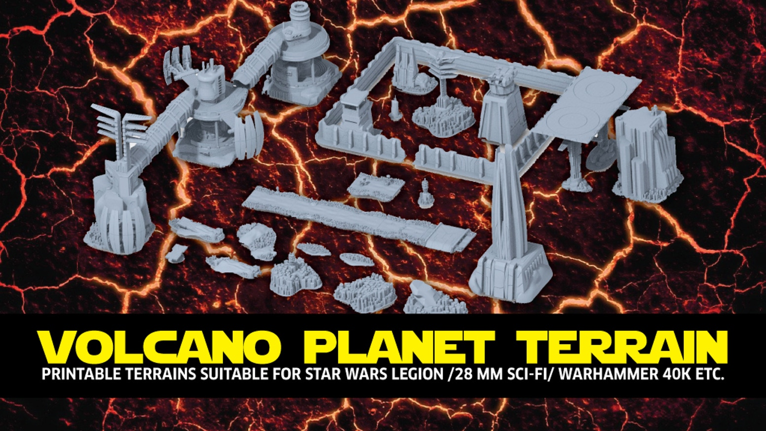 +100 STL files to print terrain suitable for Star Wars Legion /28 mm Sci-FI/ Warhammer 40K etc.