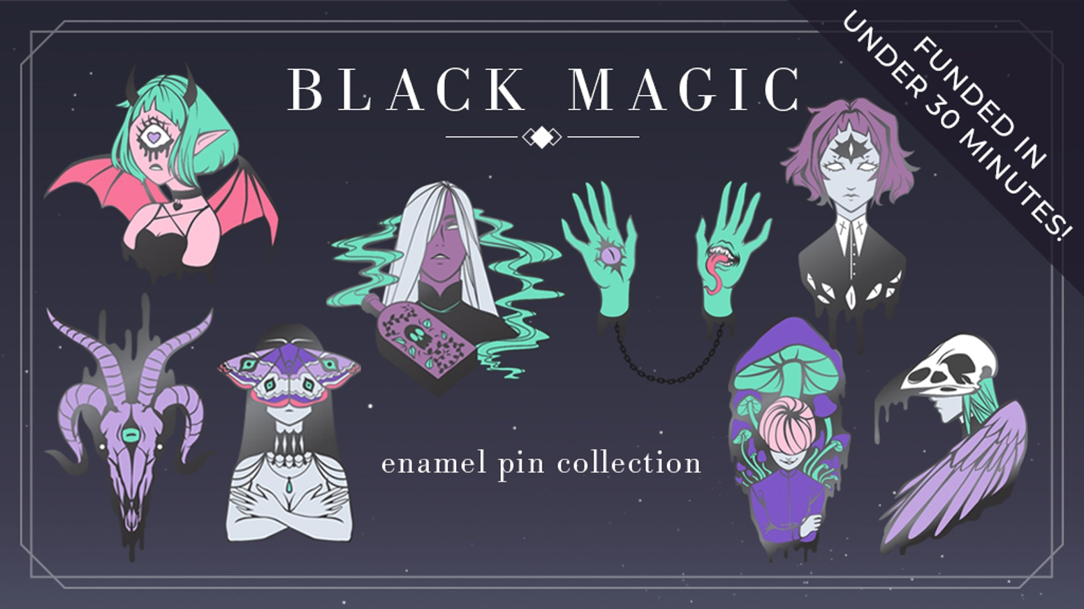 A set of occult-themed hard enamel pins for lovers of the macabre