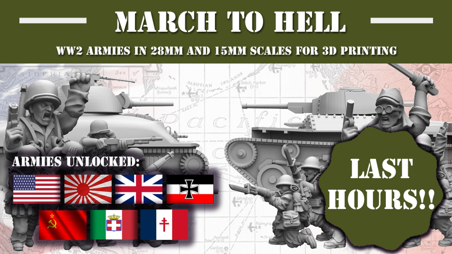 WW2 Armies in 28mm and 15mm scales for 3D printing