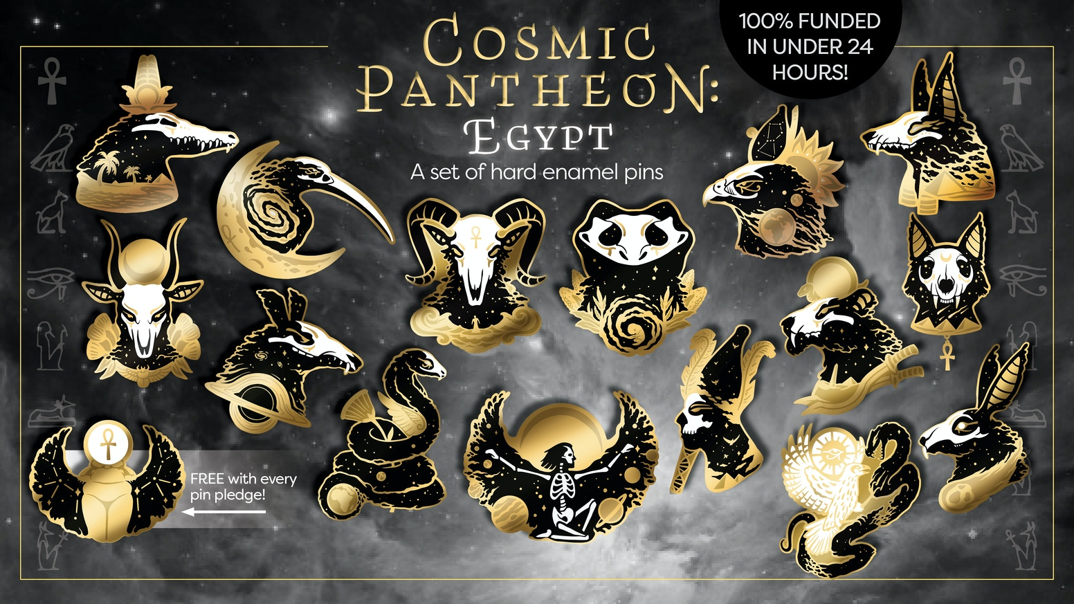 A cosmic set of hard enamel pins featuring gods and goddesses from ancient Egyptian mythology.