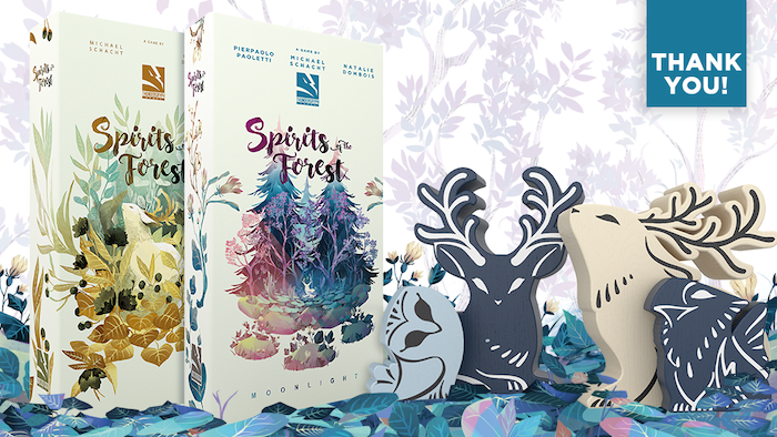 A spirit collection game awaits you in the enchanted forest.  A quick to learn solo or up to 4 players with cooperative or competitive.
