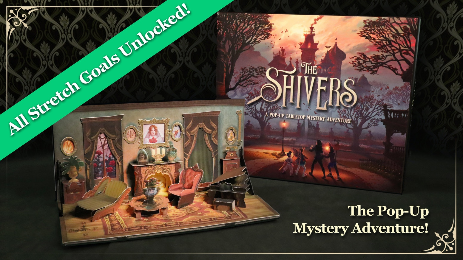 Work together in this mystery pop-up Role-Playing Game for 2-5 players, exploring a spooky mansion filled with hidden secrets!