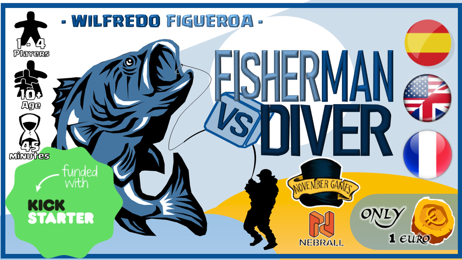 Fisherman vs Diver is a Roll&Write Board Game in Print&Play format where you must optimize resources and earn victory points.