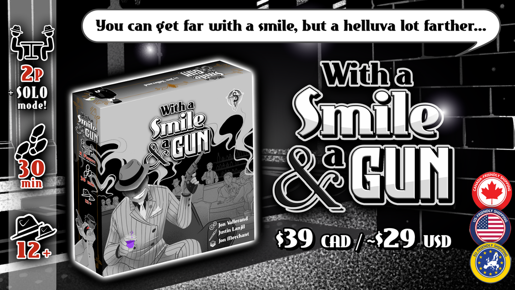 With A Smile & A Gun, a dice drafting game for 2 players project video thumbnail