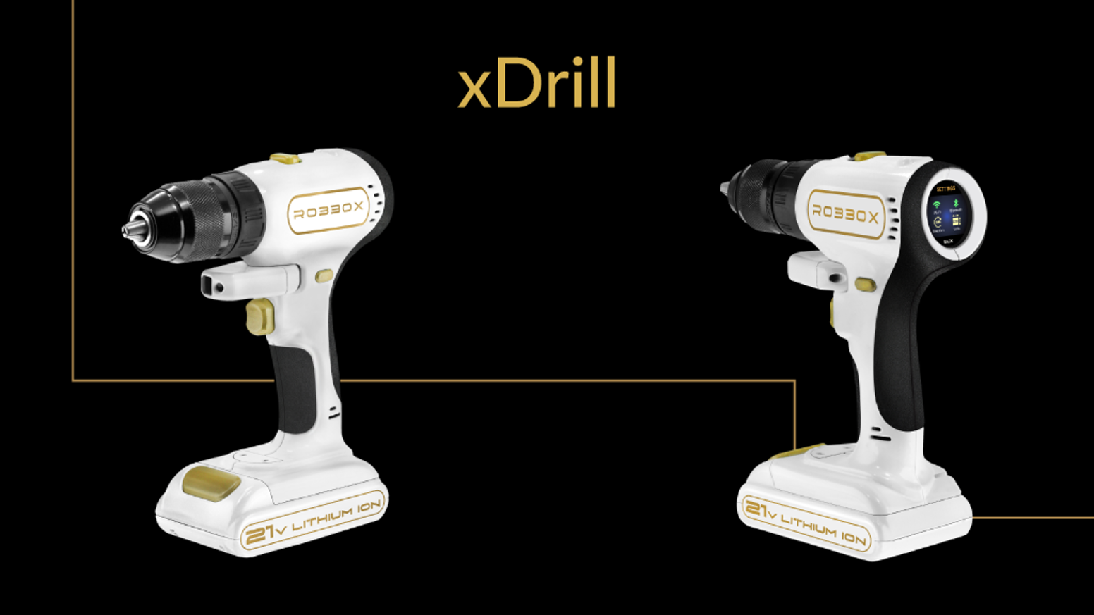 A digital smart drill complete with laser measuring, digital leveling, intelligent speed/torque, and a touch screen