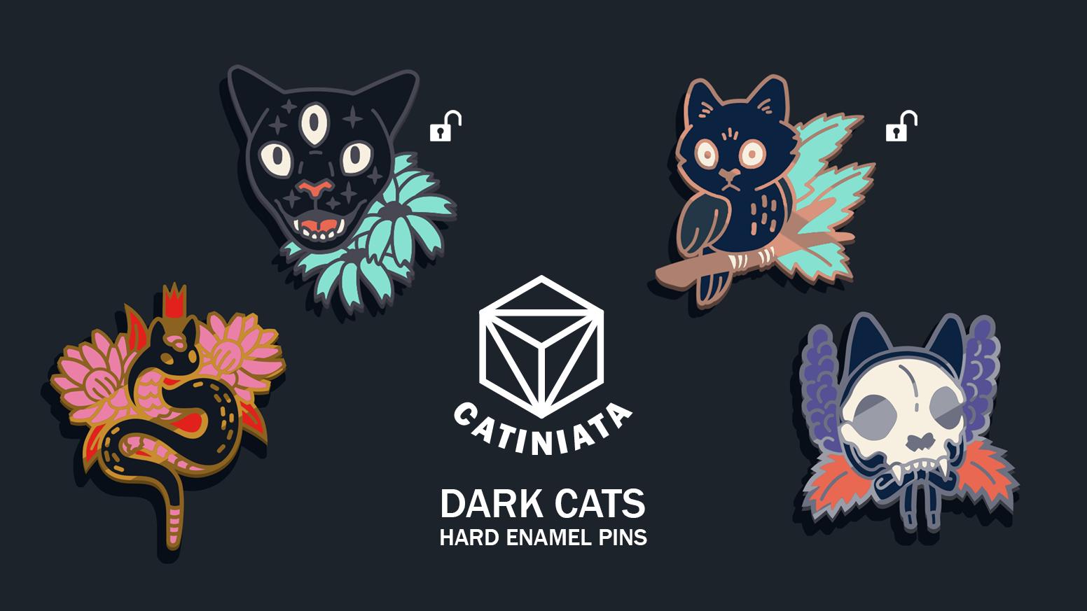 Dark cats - enamel pins inspired by dark fantasy and linocut