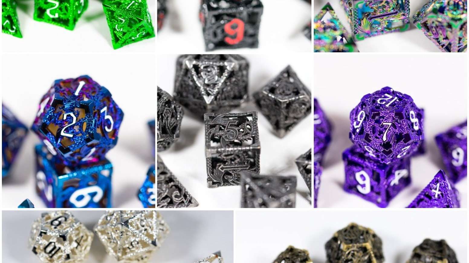 High End Hollow Metal RPG Gaming Dice with Flowing Dragons Ready for Your Next DND Campaign!