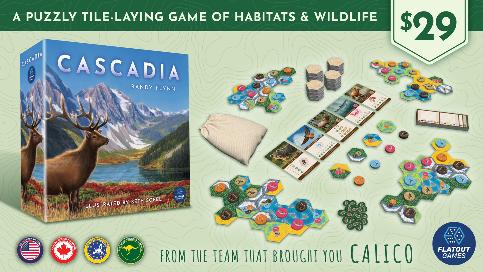 A puzzly tile-laying game featuring the habitats and wildlife of the Pacific Northwest with gorgeous artwork by Beth Sobel!
