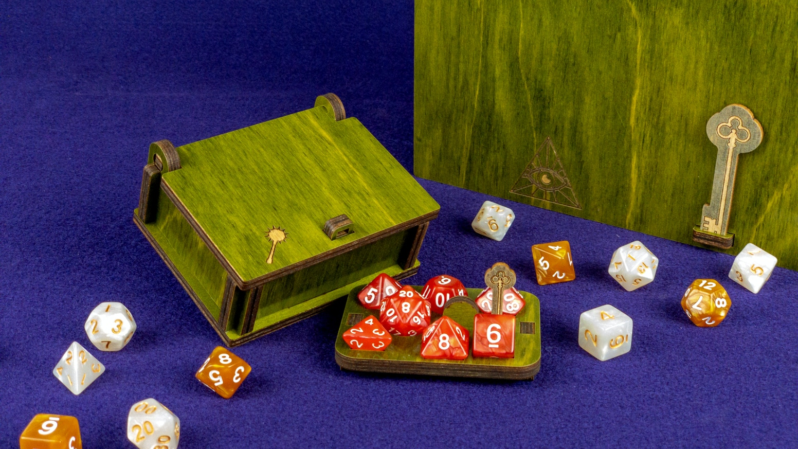 A modular system for the organization, transportation and display of RPG dice sets. Get a single Lockbox or a set with storage Bank.