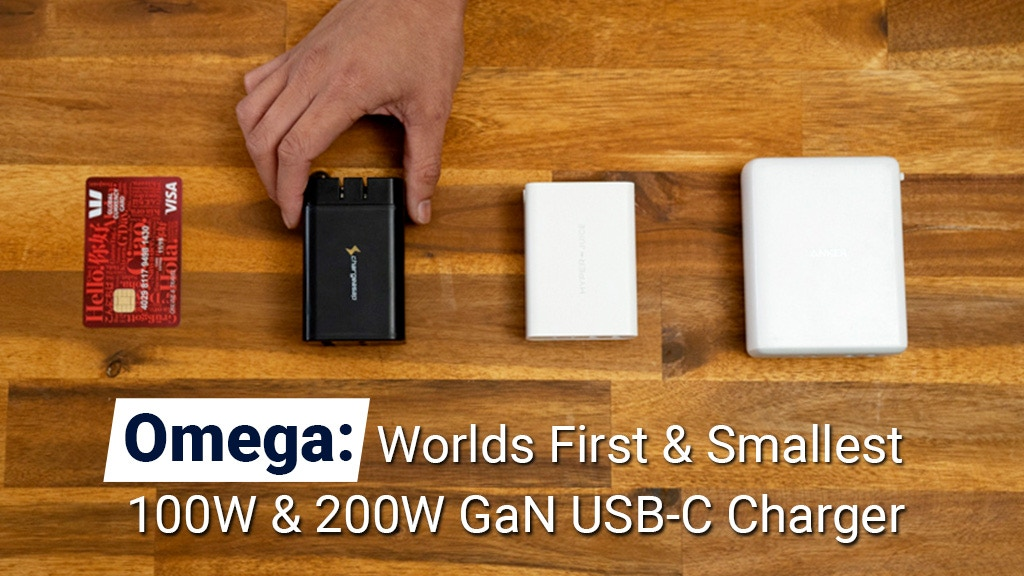 Omega: Worlds First & Smallest 200W & 100W GaN USB-C Charger