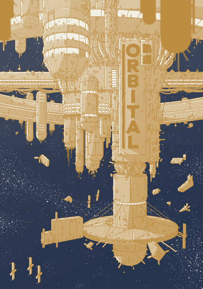 Cover art for ORBITAL, by turbo.torbo, showing a space station with 'ORBITAL' written down the side.