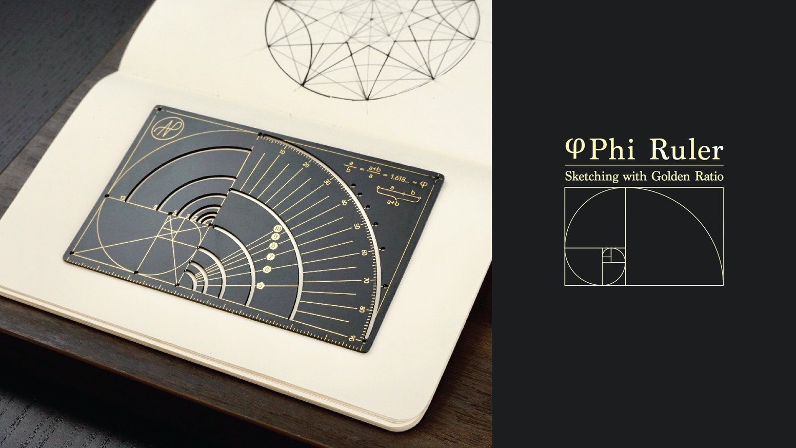 A ruler with golden ratio grid lines for a harmony creation. An ultimate design tool for designers and easily fit in your pocket
