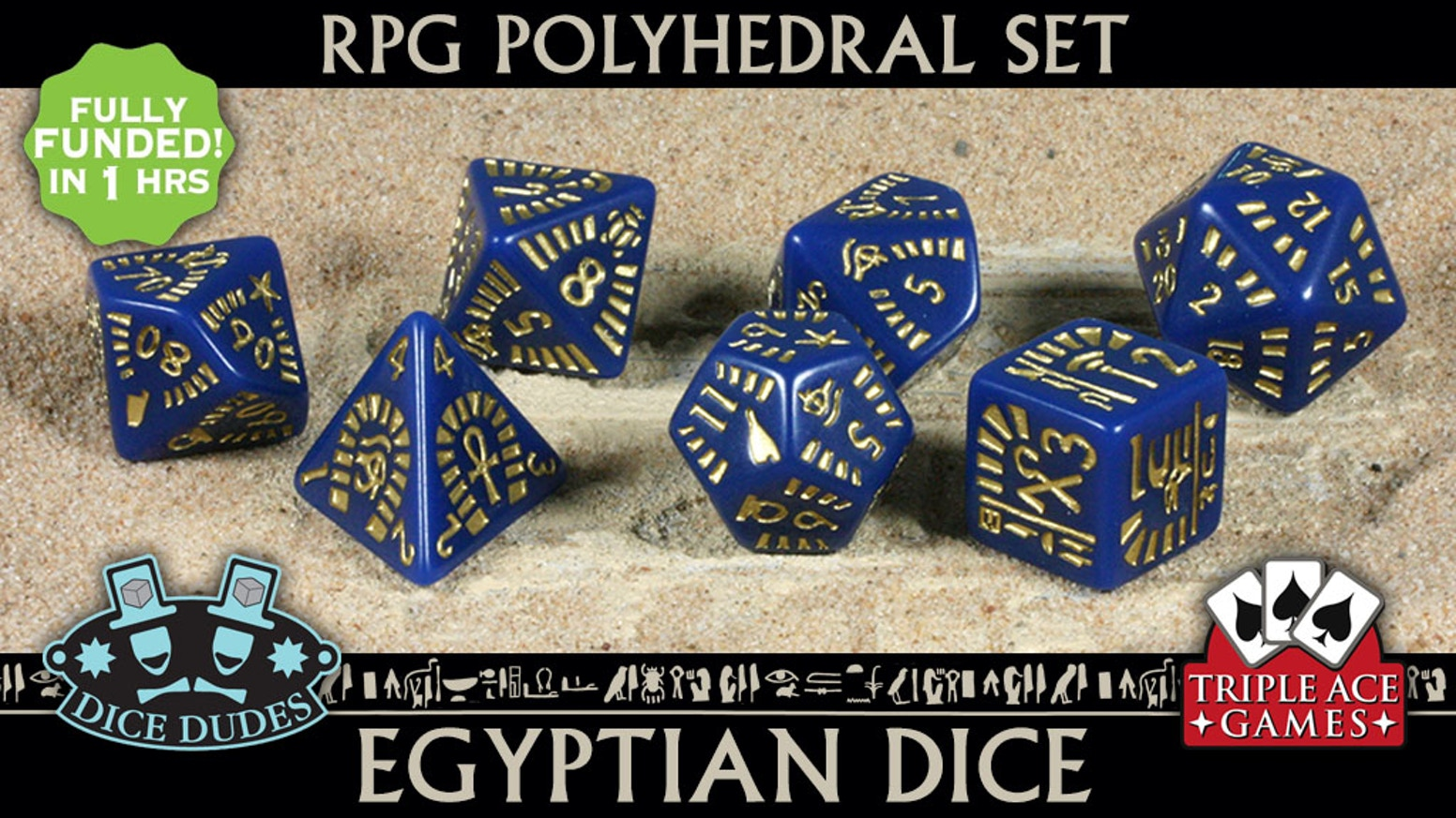 A beautifully crafted set of 7 Egyptian themed polyhedral dice for Egyptian themed tabletop games.