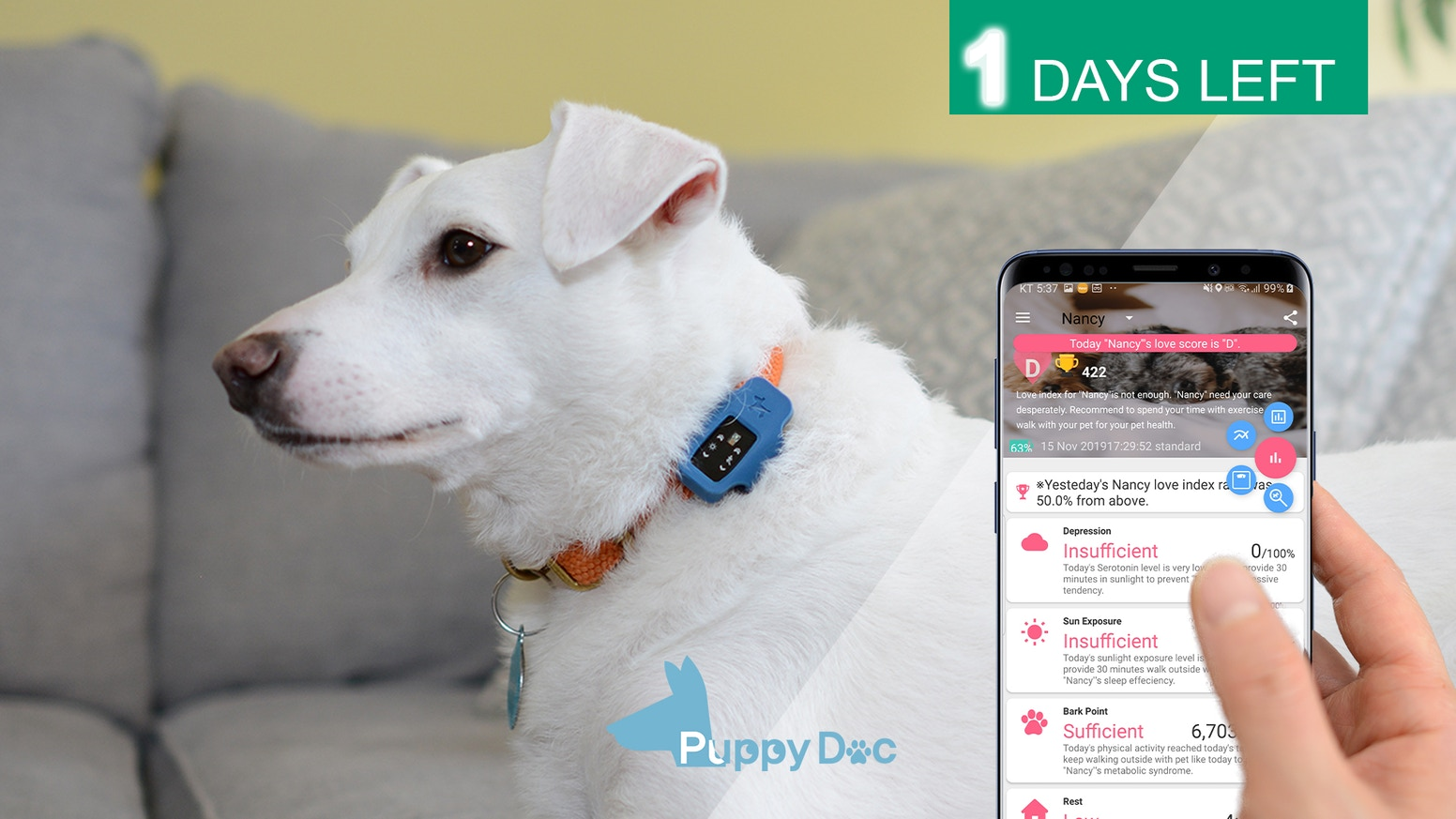 Listen to what Your Dog says via PuppyDoc and resolve Separation Anxiety. It provides customized health schedule.