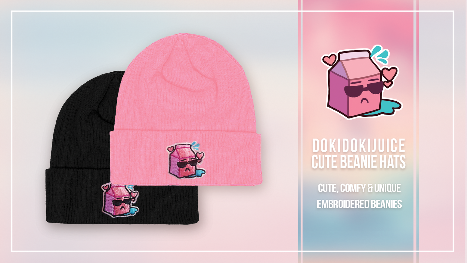 Cute & comfy beanies available in multiple colours with an equally adorable embroidered juice bottle design made by me ♡
