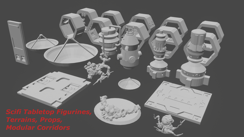 Project image for Sci-fi modular 3D printable tabletop figures & objects