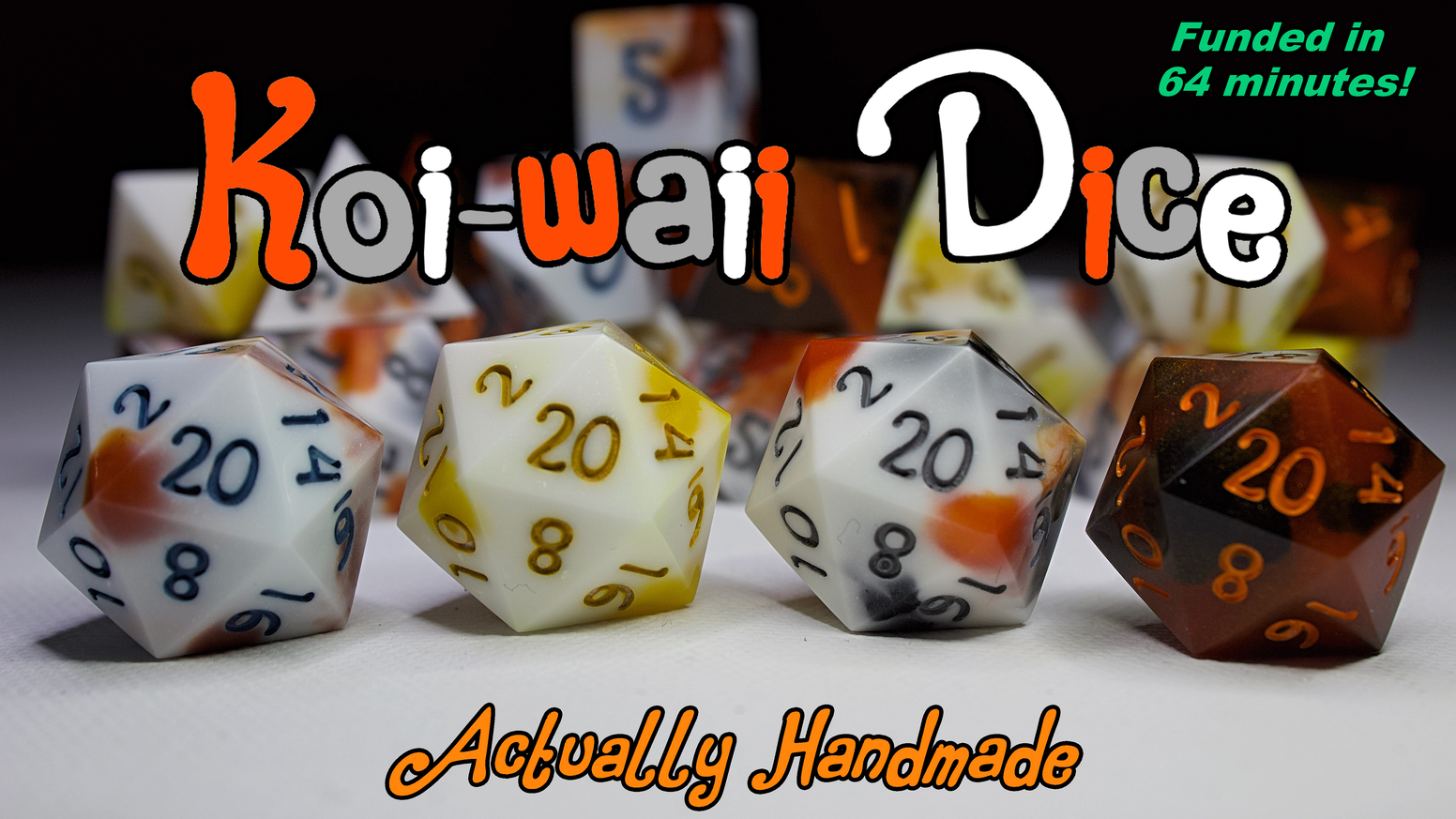 Handmade polyhedral dice inspired by the beautiful patterning of koi. Surveys go out on September 8th!