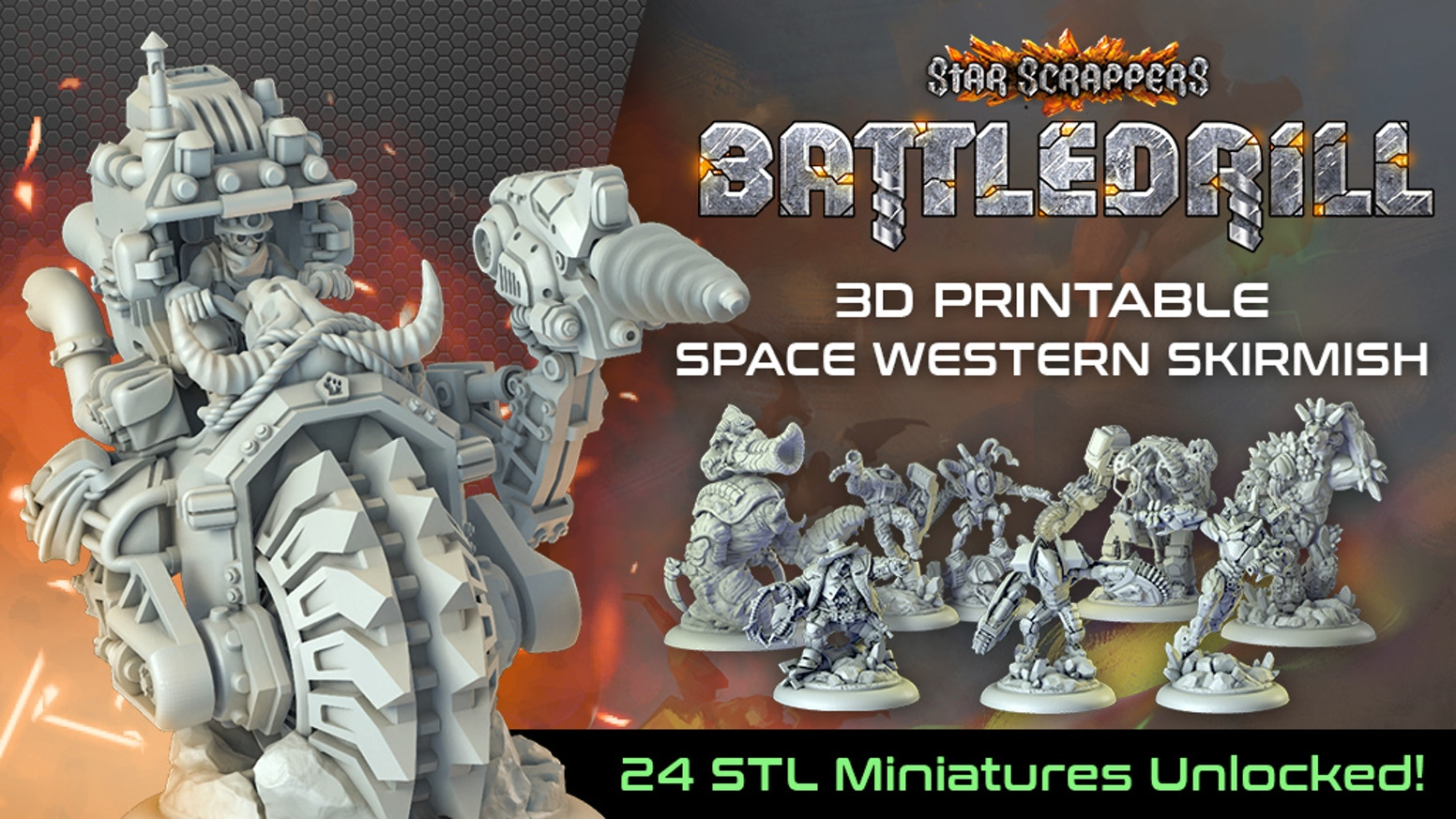 Space western skirmish wargame with lightweight rules and superb miniatures ready to 3d print at home.