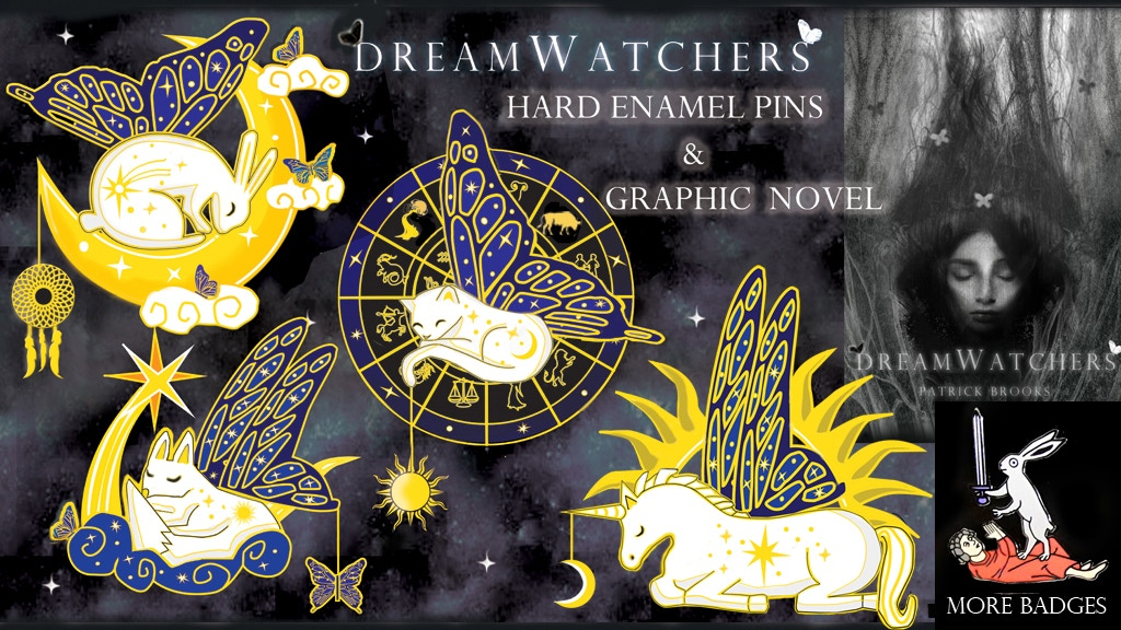 DreamWatchers hard enamel pin badges and graphic novel project video thumbnail