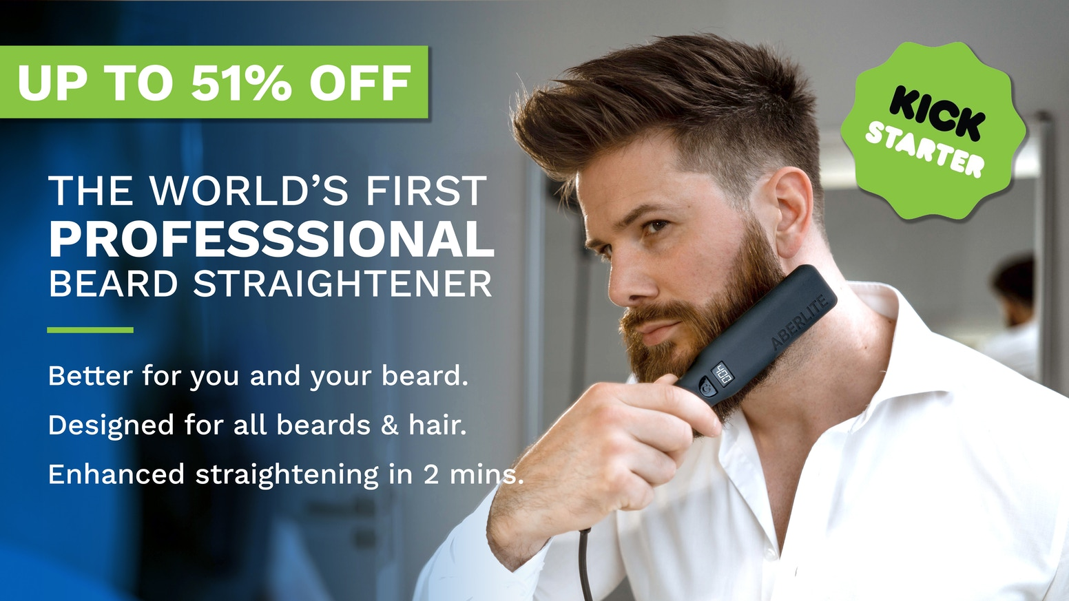 The most advanced purpose-built beard and hair straightening brush. Nail a neat beard in just 2 min.