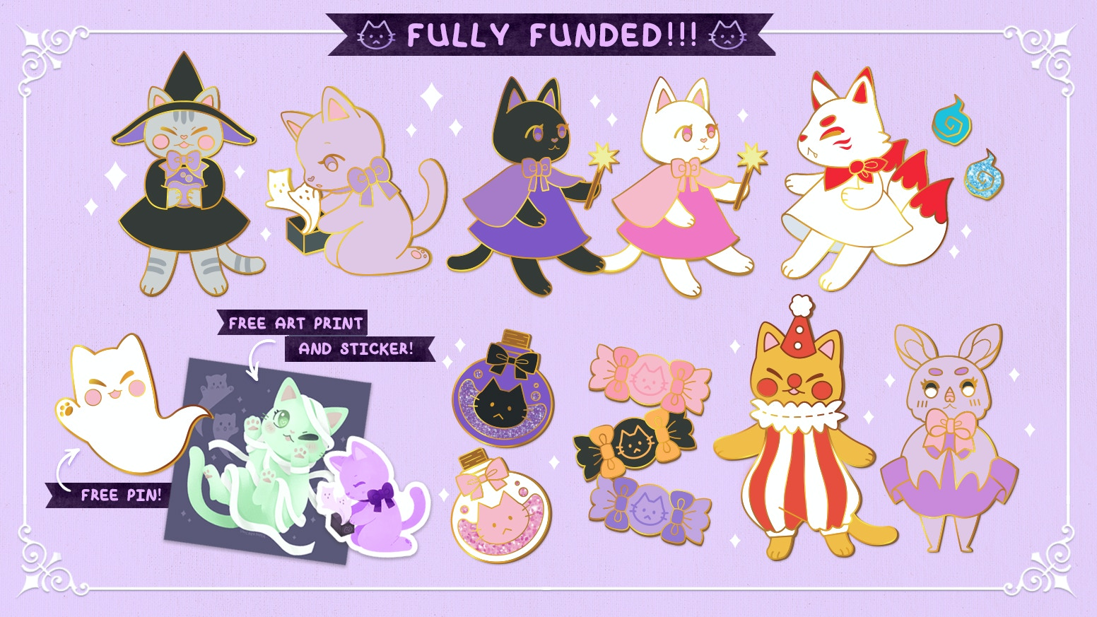 A spooky lil' enamel pin collection of some witchy cats and their friends!