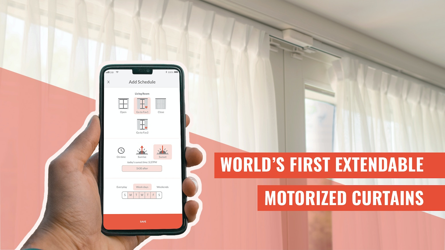 Universal-fit extendable motorized curtain track system works with Alexa, Google Assistant, Siri Shortcuts and more.