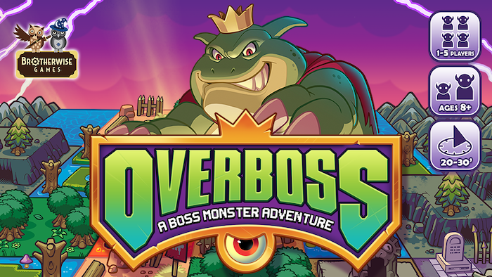Become a villain in this retro-inspired board game. Draft terrain tiles, recruit monsters, build your map, and become the OVERBOSS! The name has changed, but the game is the same: puzzly map-building action that's a blast for gamers of all skill levels.