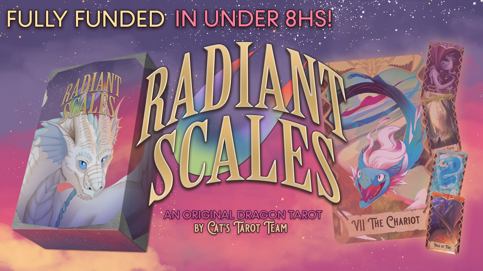 Radiant Scales is a collaborative original tarot deck centered around dragons and their connections with the elements.