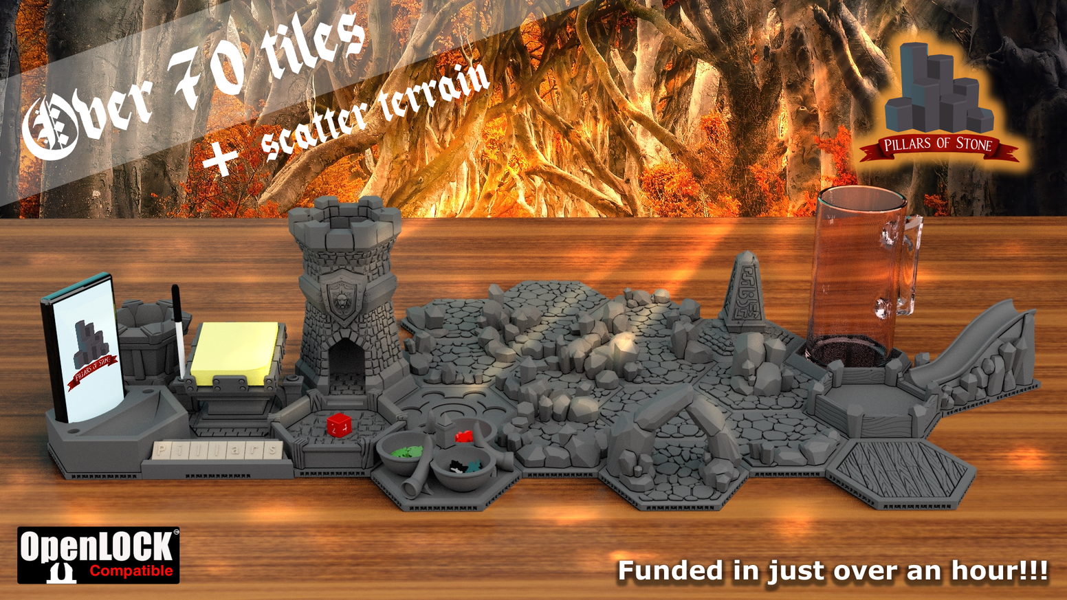 3D printabletabletop gaming tile system, Compatible with openLOCK. Late pledges are available on our website. Be sure to sign up for our newsletter for future news, and projects.