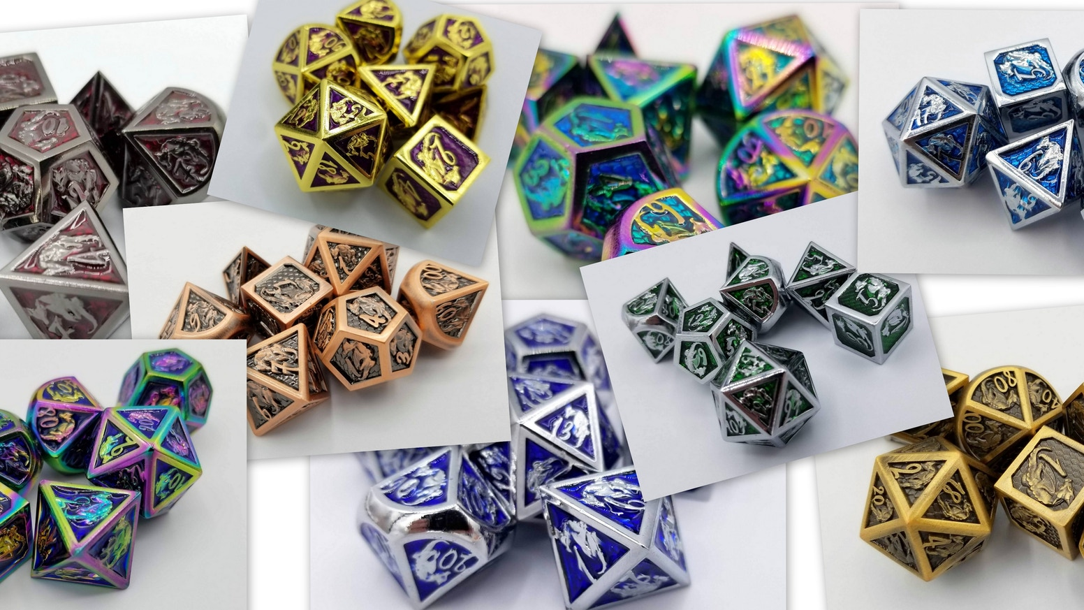 Set of Metal Dice based on our Dragon Mascot Talys