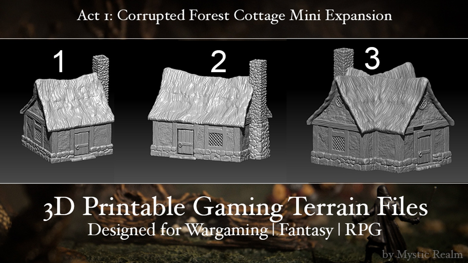 28mm miniature home tabletop gaming terrain for Fantasy RPG & Wargaming - 3D printable STL villiage house files - Print, Paint & Play!
