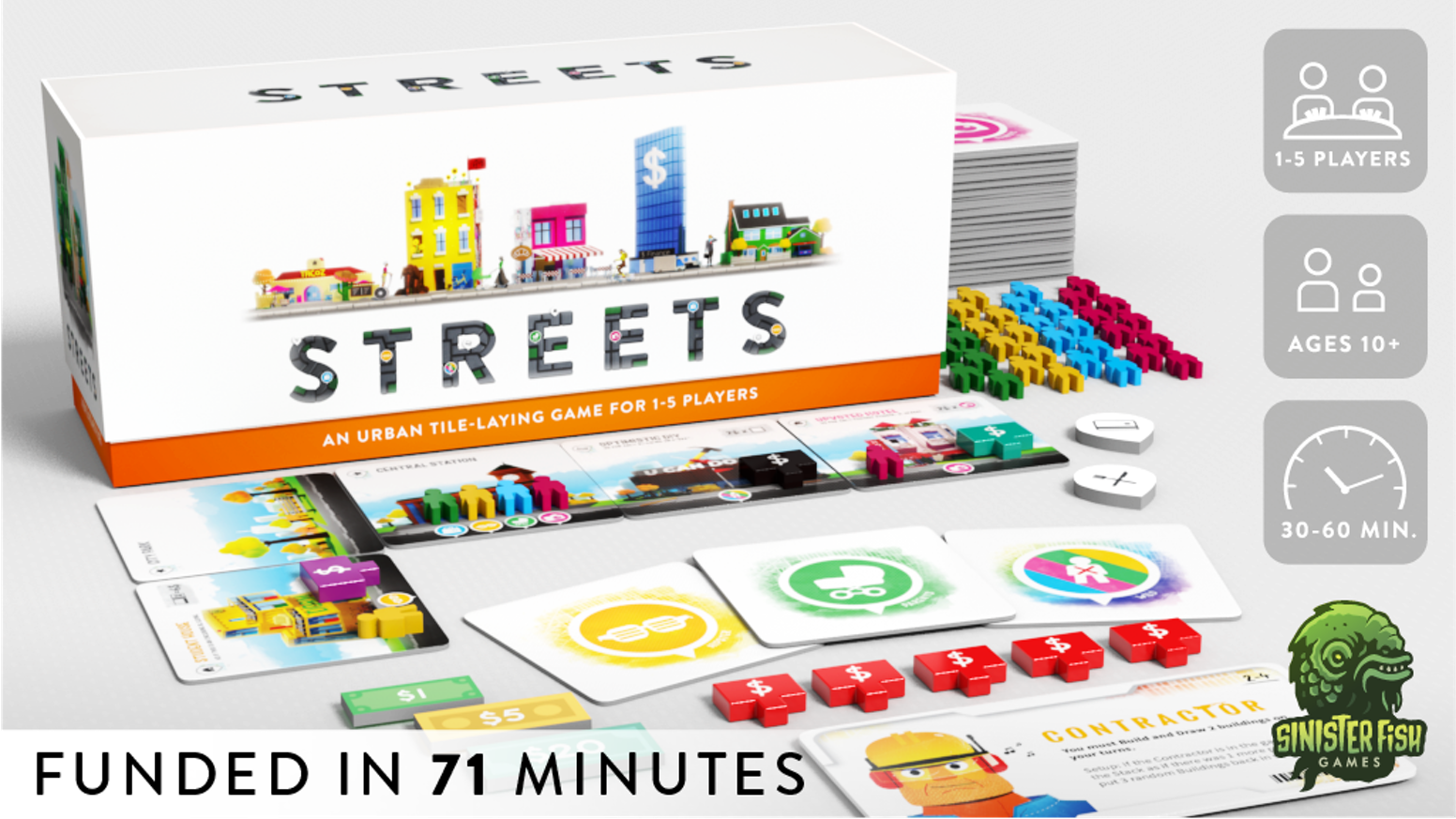 An urban tile laying game for 1-5 players from the designer of Villagers.
