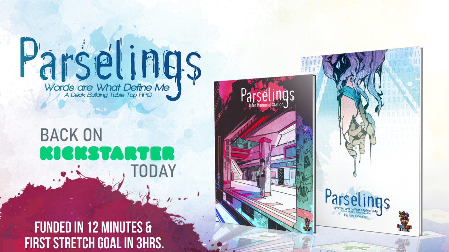 Parselings is a Deckbuilding Table Top Roleplaying game about identity and collaborative word magic.  In a world not too unlike our own, strange new tattoos have begun to emerge and mundane reality begins to melt away into a twisted reflection of itself.