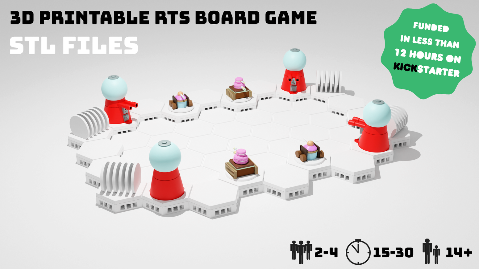 A 3D Printable Real-Time-Strategy Board Game for 2 - 4 Players (STL Format)