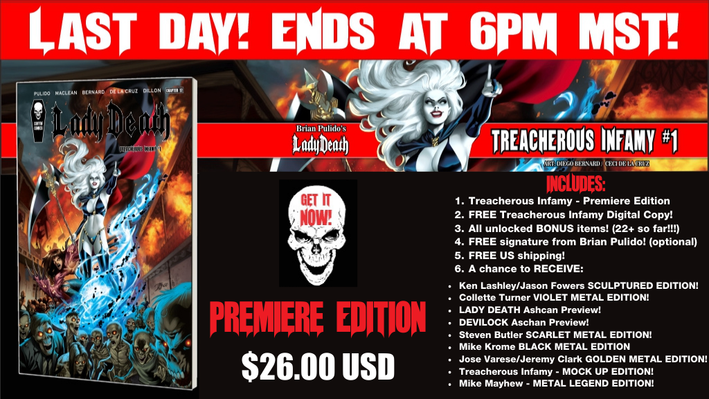 Brian Pulido's Newest: Lady Death: Treacherous Infamy #1! project video thumbnail